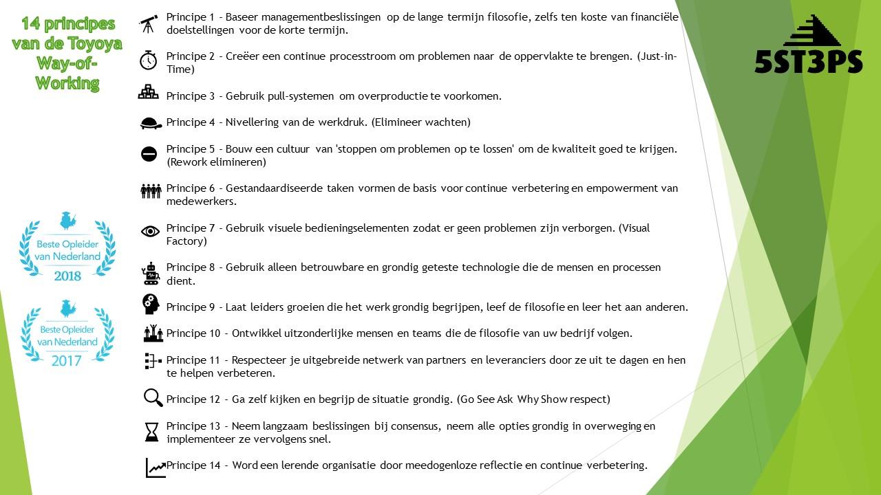 14 Principes van de toyota way of working